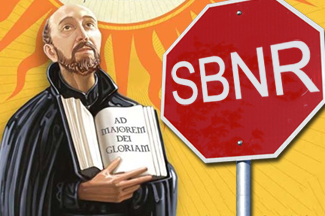 SBNR stop sign and priest
